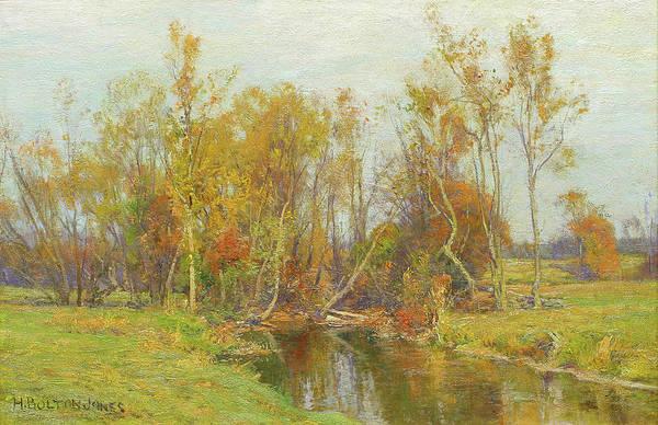 Bolton Wall Art - Painting - Autumn Trees Along A Stream by Hugh Bolton Jones