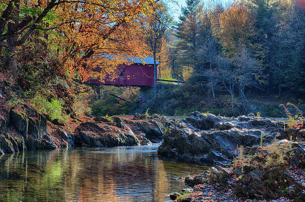 Photograph - Autumn View Of Slaughterhouse Covered Bridge by Jeff Folger