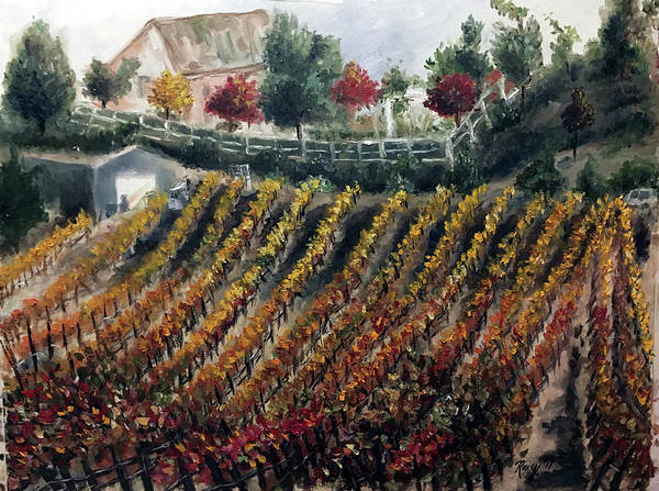 Wine Painting - Autumn Vines by Roxy Rich