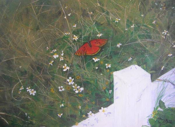 Fencepost Painting - Autumn Visitor by Dixie Hester