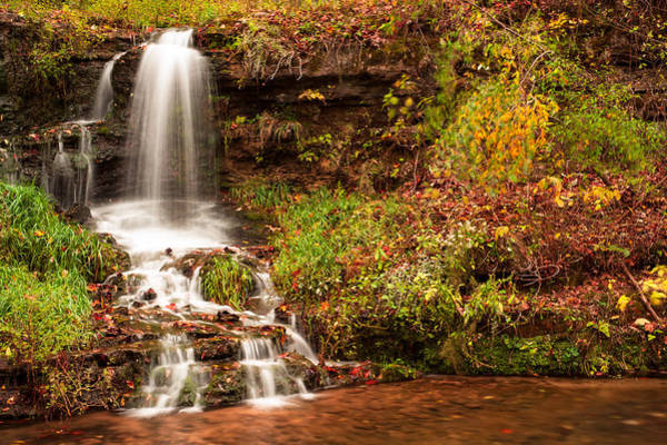 Missouri Ozarks Photograph - Autumn Waterfall - Dogwood Canon Nature Park by Gregory Ballos