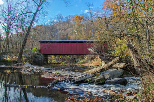 Photograph - Autumn - Wissahickon Creek - Thomas Covered Bridge by Bill Cannon