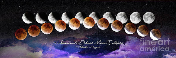 Eclipse Mixed Media - Autumnal Blood Moon Eclipse - Galactic Sky by Autumn Dawn