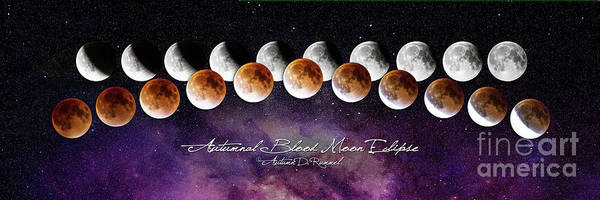 Eclipse Mixed Media - Autumnal Blood Moon Eclipse - Universe by Autumn Dawn