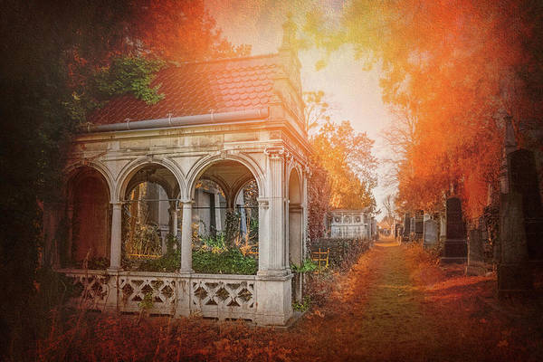 Tombstone Photograph - Autumnal Historic Cemetery Vienna Austria  by Carol Japp