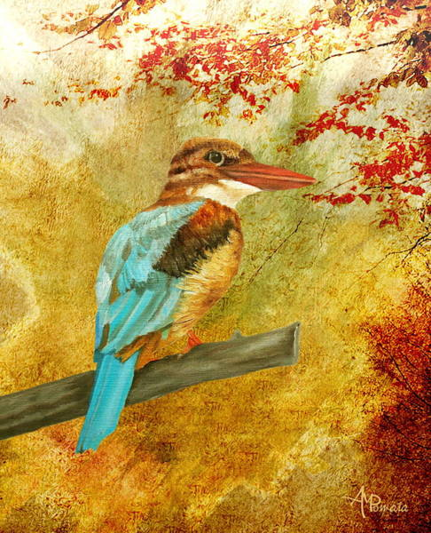 Painting - Autumnal Kingfisher by Angeles M Pomata