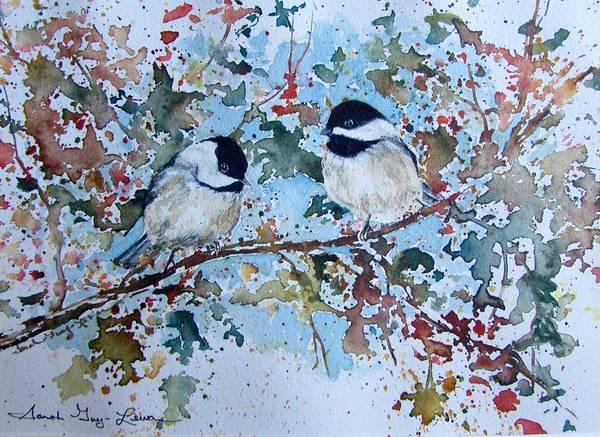 Lovebird Painting - Autumnal Lovebirds by Sarah Guy-Levar