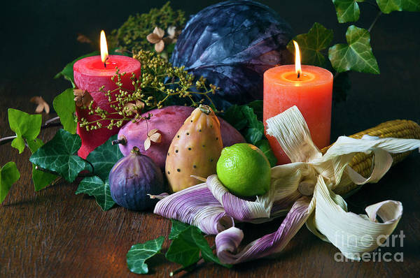 Photograph - Autumnal Still Life With Candles by Silva Wischeropp