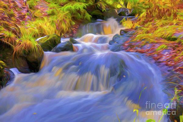 Painterly Digital Art - Autumn's Creek 3 by Veikko Suikkanen