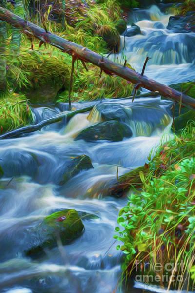 Painterly Digital Art - Autumn's Creek 4 by Veikko Suikkanen