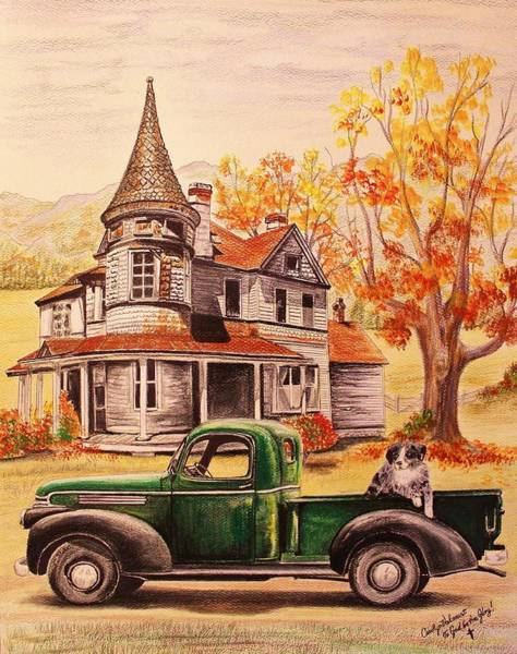 Old Chevy Truck Drawing - Autumn's Whispered Memories by Carolyn Valcourt