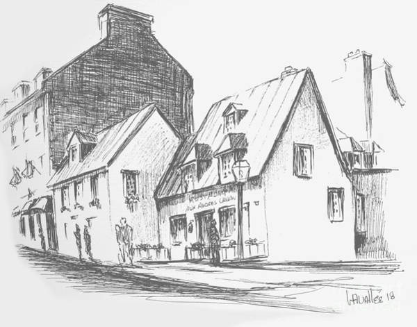 Quebec City Drawing - Aux Anciens Canadiens by Louise Lavallee