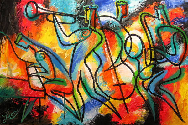 Wall Art - Painting - Avant-garde Jazz by Leon Zernitsky