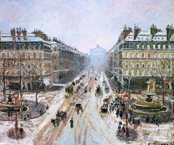 Camille Wall Art - Painting - Avenue De L'opera - Effect Of Snow by Camille Pissarro