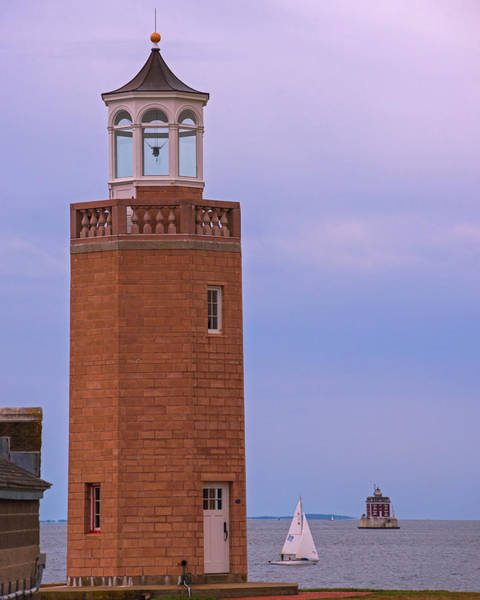 Wall Art - Photograph - Avery Point Lighthouse With New London Ledge Lighthouse Groton Ct Connecticut by Toby McGuire