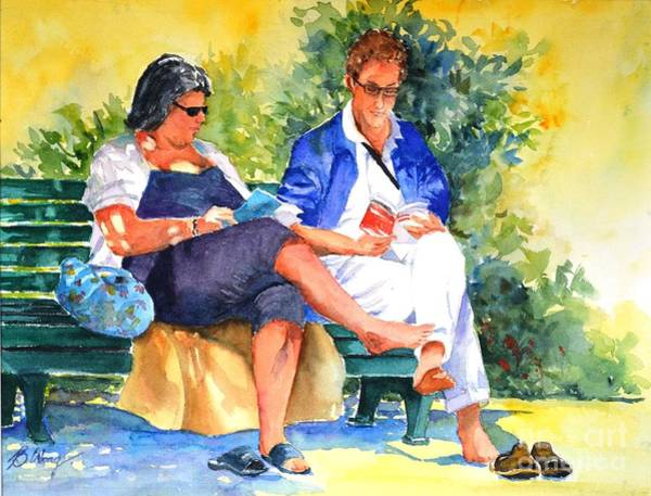 Painting - Avid Readers #1 by Betty M M Wong
