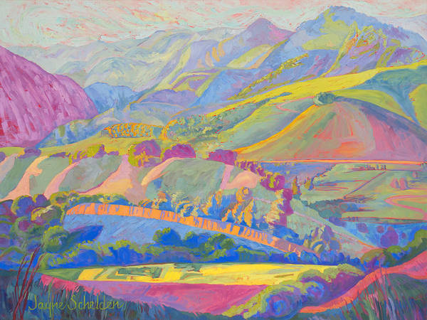 Sycamore Painting - Avila Valley From Ontario Ridge by Jayne Schelden