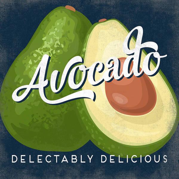Advertisement Digital Art - Avocado Vintage Fruit Label by Flo Karp