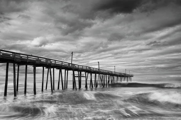 Photograph - Avon Fishing Pier And Crashing Waves In Black And White by Ranjay Mitra