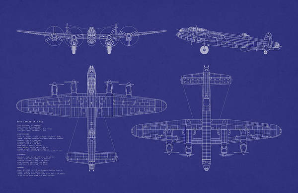 Avro Wall Art - Digital Art - Avro Lancaster Bomber Blueprint by Michael Tompsett