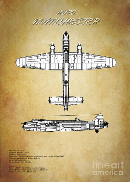 Wall Art - Digital Art - Avro Manchester Blueprint by J Biggadike