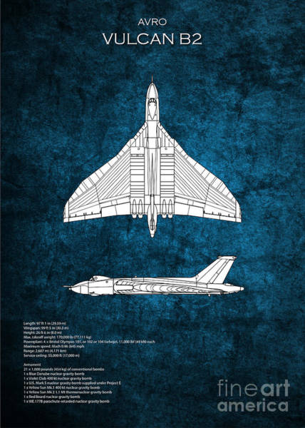 Wall Art - Digital Art - Avro Vulcan Blueprint by J Biggadike