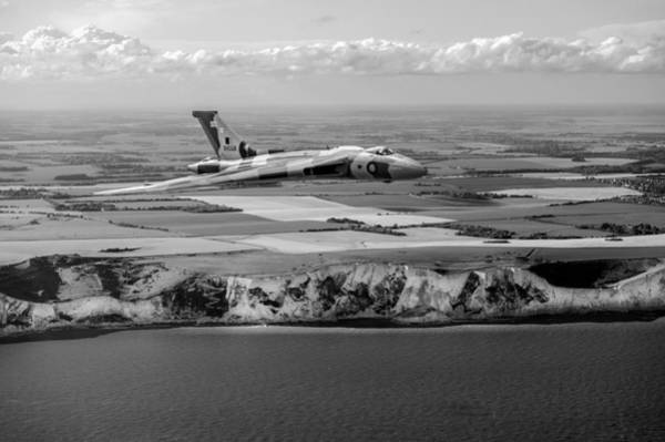 Photograph - Avro Vulcan Over The White Cliffs Of Dover Black And White Versi by Gary Eason