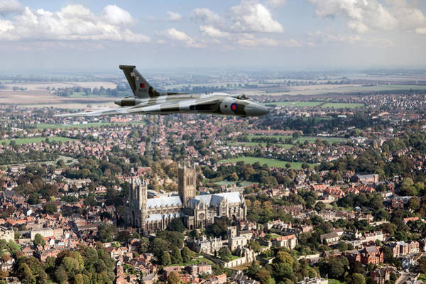 Photograph - Avro Vulcan Passing Lincoln Cathedral by Gary Eason