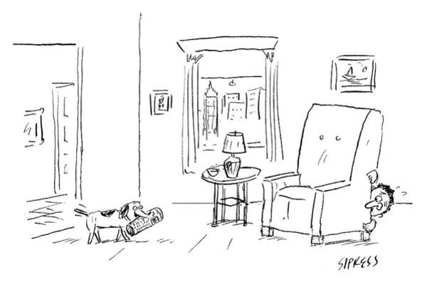 At Home Drawing - Awaiting Todays News by David Sipress