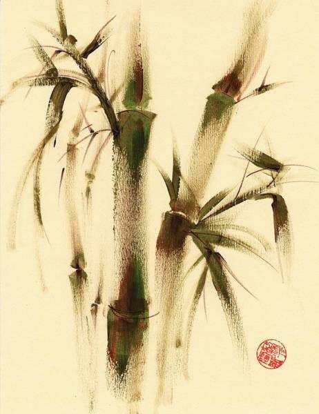Chinese Buddha Painting - Awareness - Sumie Bamboo Brush Painting by Rebecca Rees
