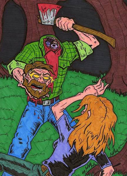Lumberjacks Drawing - Axe Me Another by Anthony Snyder