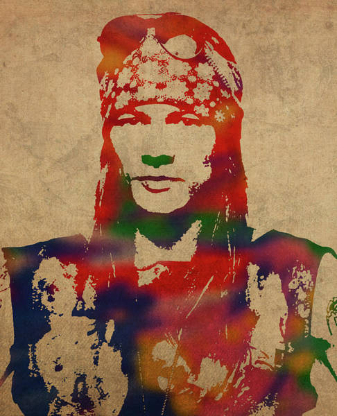 Wall Art - Mixed Media - Axl Rose Watercolor Portrait Acdc by Design Turnpike