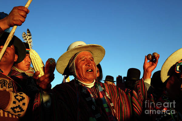 Photograph - Aymara New Year Harvest Thanksgiving Bolivia by James Brunker