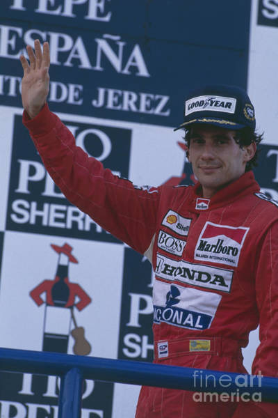 Racing Shell Photograph - Ayrton Senna. 1989 Spanish Grand Prix Winner by Oleg Konin