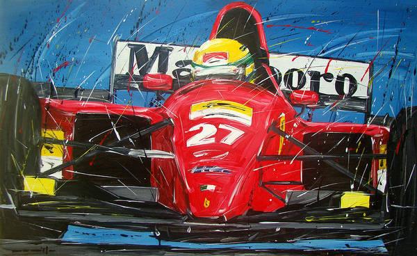 Alfa Romeo Painting - Ayrton Senna Ferrari 27 by Roberto Muccilo