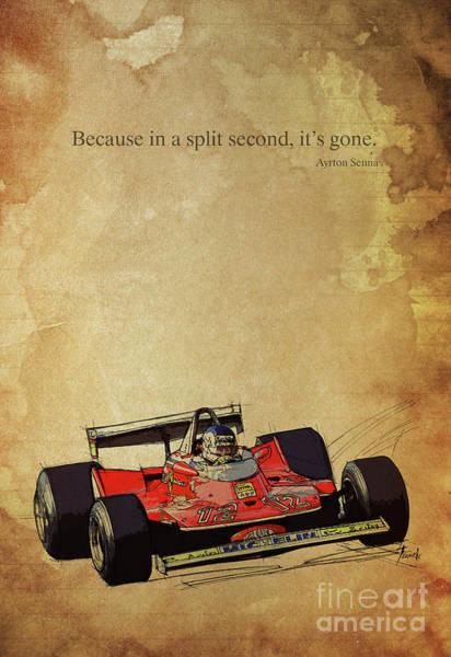 Ayrton Senna Wall Art - Drawing - Ayrton Senna Quote, Ferrari F1 Race Car, Red Ferrari Racing by Drawspots Illustrations