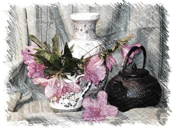 Fx Photograph - Azaleas And Teapot by Pat Exum
