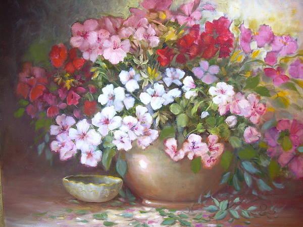 Art Print featuring the painting Azaleas by Naomi Dixon