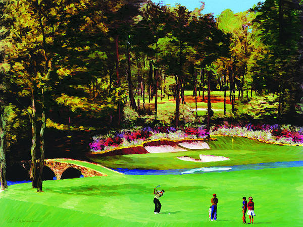 Augusta Masters Painting - Azaleas On The 12th by Allen Lawrence