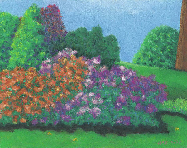 Pastel - Azaleas On The Slope by Anne Katzeff