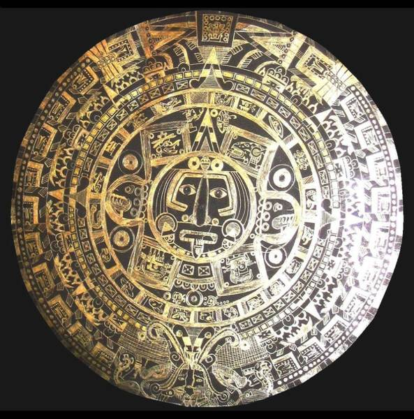 Drawing - Aztec Calendar by Michelle Dallocchio