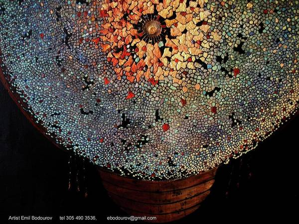 Wall Art - Pastel - Aztec Indian Shield by Emil Bodourov