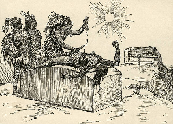 Pen And Ink Drawing Drawing - Aztec Priest Performing Sacrifice by American School