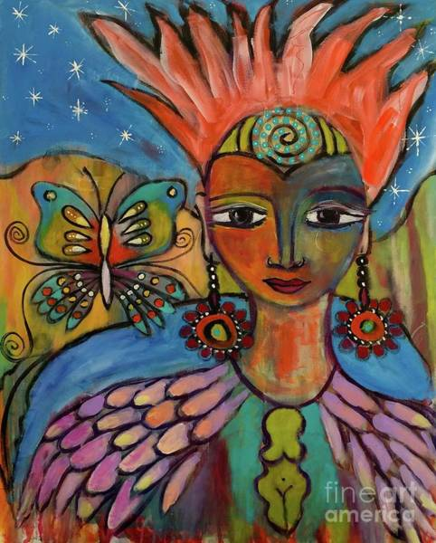 Painting - Aztec Princess by Corina  Stupu Thomas