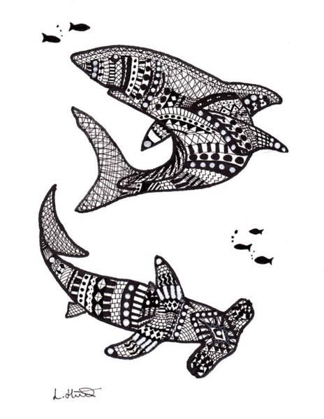 Hammer Head Shark Wall Art - Drawing - Aztec Sharks by Loren Hill