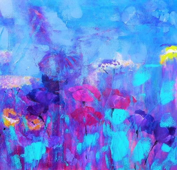 Wild Poppies Digital Art - Azure Cyan Floral Wind Painting By Lisa Kaiser by Lisa Kaiser