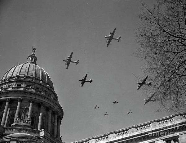 B-17 Bomber Photograph - B-17 Bombers Over The Capital Building In Madison Wisconsin, 194 by The Harrington Collection