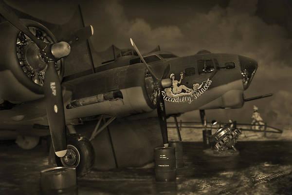 Bomber Photograph - B - 17 Field Maintenance  by Mike McGlothlen