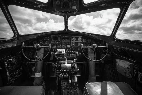 B-17 Bomber Photograph - B-17 Flying Fortress Cockpit by Mike Burgquist