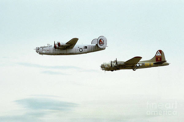 B24 Photograph - B-24 And B-17 Flying by BuffaloWorks Photography